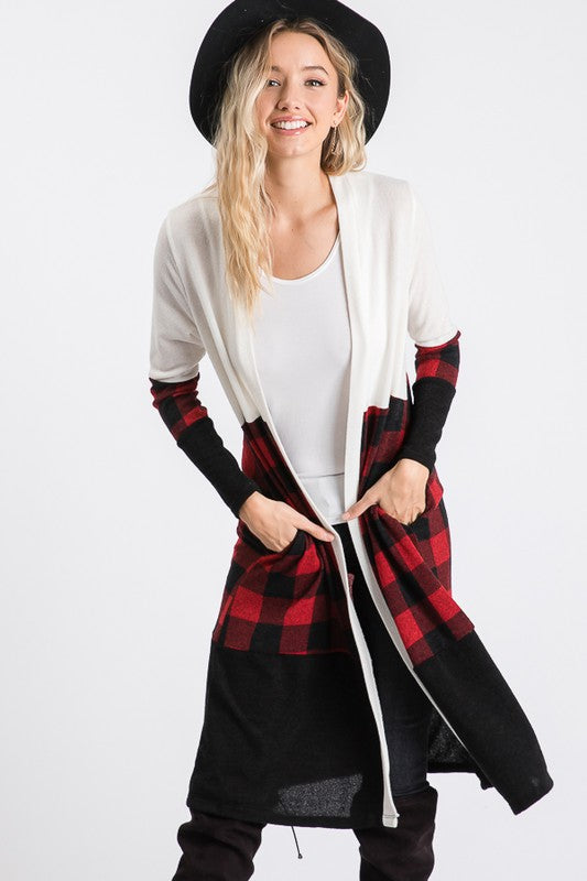 Color Block Cardigan With Plaid Detail!