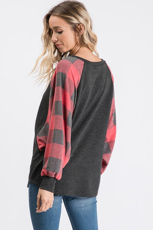 Plaid Contrast Dolman Top!