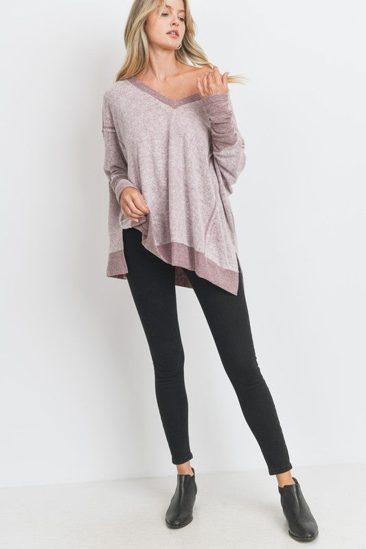 Boxy Fit V Neck Brushed Knit Side Slit Top!