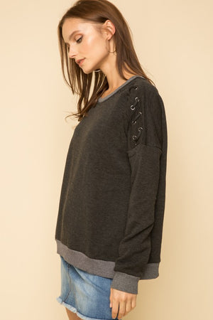 Lace Detailed Striped Sweatshirt!