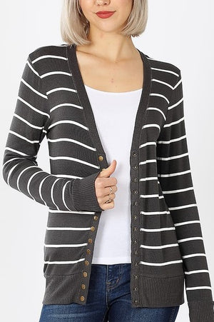 Z Striped Snap Cardigan!