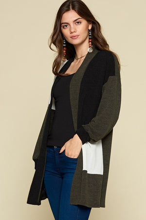Color Block Open Front Cardigan!