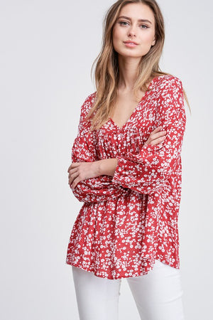 Puff Sleeves Floral Print Knit Top