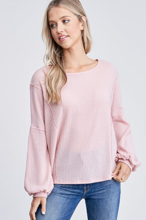 Puff Sleeves Solid Waffle Knit Top