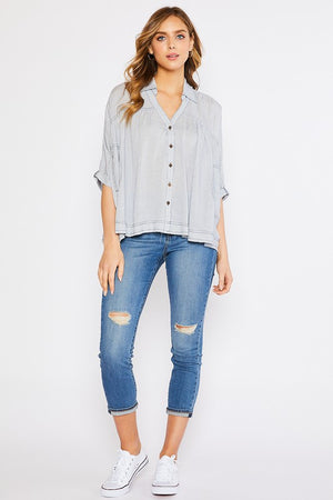 Gingham Dolman Contrast Stitch Detail Flare Shirt!