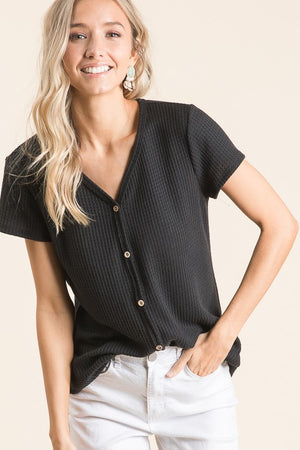 Waffle Knit Decorative Button Front Top