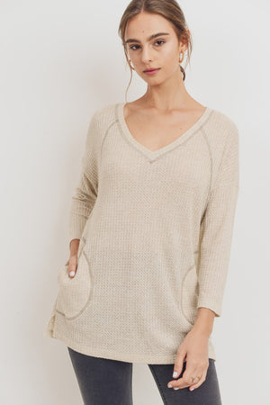 CH V-Neck Pocket Thermal Knit Tunic Top