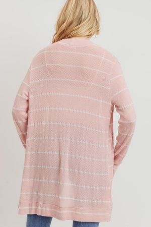 Ch Striped Knit Open Closure Cardigan