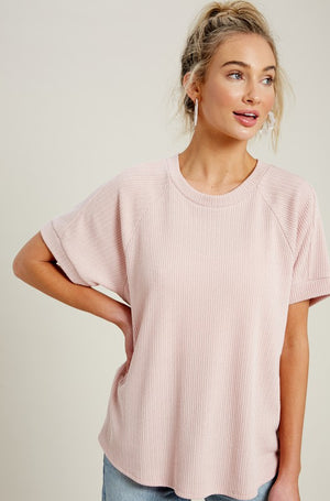 Pointelle Textured Raglan Short Sleeve Knit Top