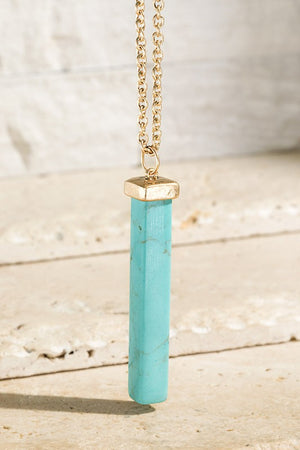 Natural Stone Bar Necklace!