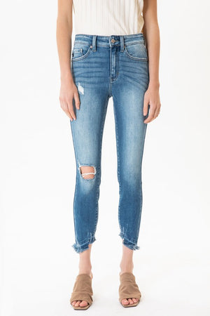 KC High Rise Ankle Skinny With Light Distressing!
