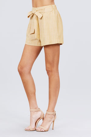 Waist Bow Tie Stripe Short Pant!
