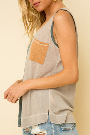 So Soft Color Blocked Tank With Pocket!