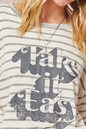 Vintage Striped Take It Easy Graphic Tee!