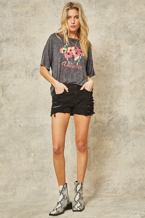 Paradise Mineral Washed Oversized Graphic Tee