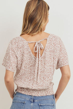 Ditsy Leaf Open Back Smock Hem Top!