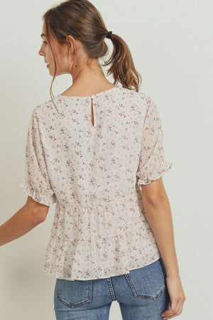 Floral Puff Sleeves Peplum Tiered Top!