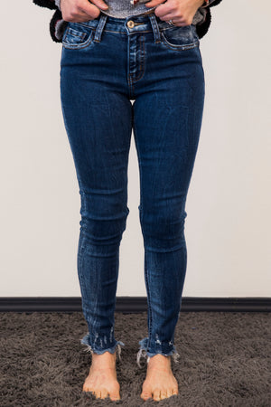 Vervet Blue Amber Distressed Skinny