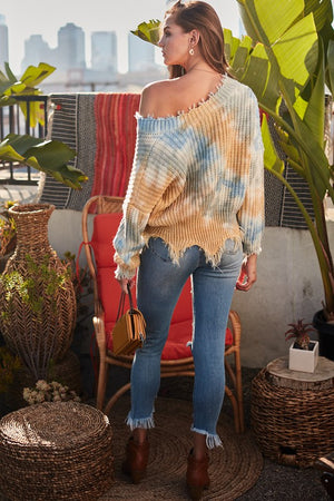 Distressed V Neck Loose Fit Tie-Dye Sweater!~