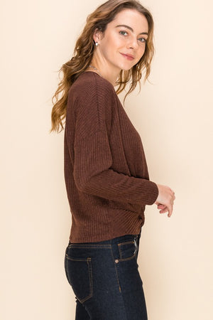Long Sleeve Ribbed Knit Top!