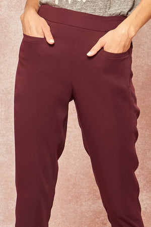 Solid Tapered Cropped Pants with Pockets !