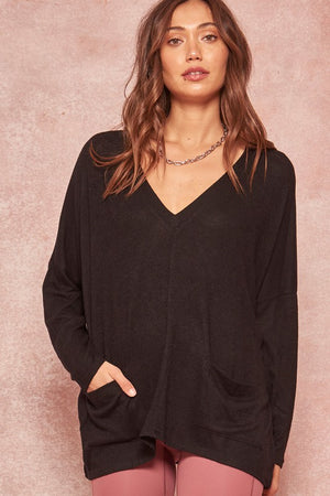 Brushed Knit Deep V-Neck Over-sized Pocket Top!