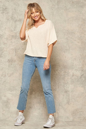 Vintage Mineral Washed Cuffed Split-Neck Tee !