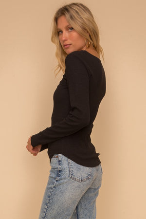 Raw Edge Long Sleeve Ribbed Top!