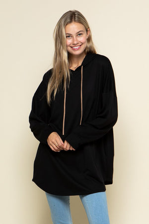 Hooded Black Tunic Sweatshirt!