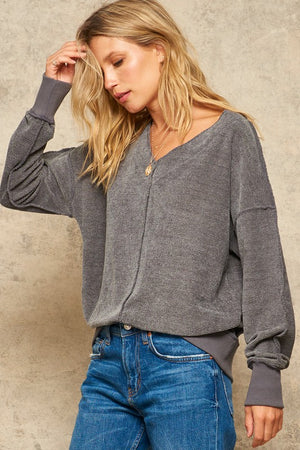 Textured Knit Inverted Seam V-Neck Top !