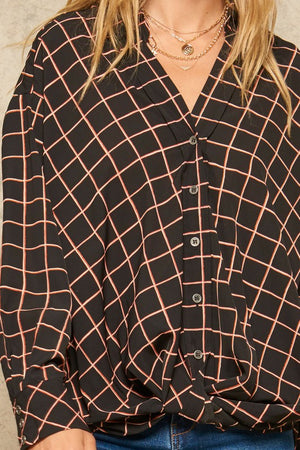 Plaid Button-Down Gathered-Hem Collarless Shirt !