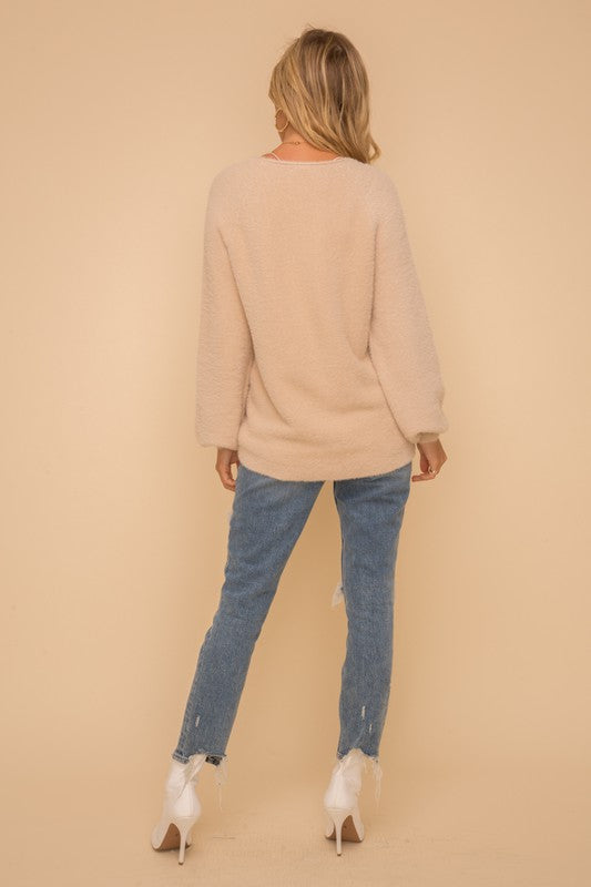 Soft Eyelash Deep Round Neck Sweater Top!