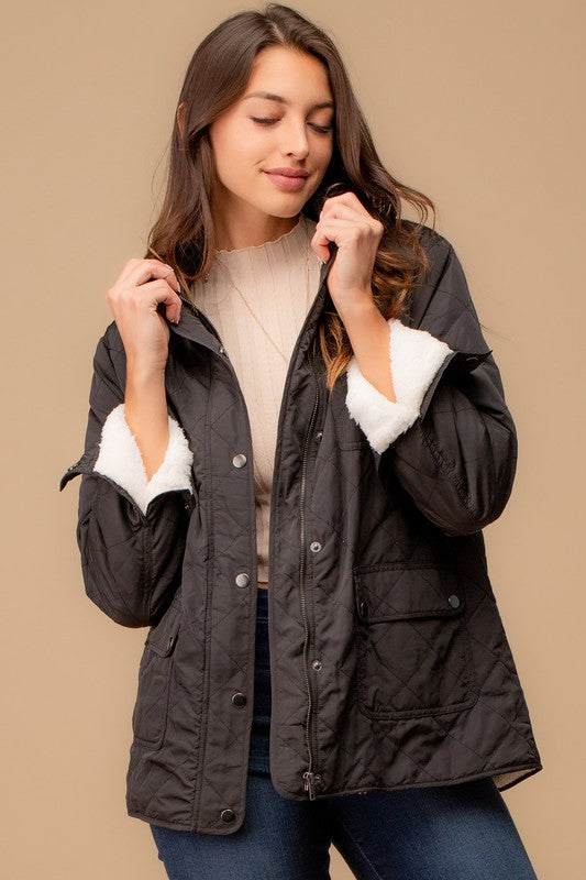 Quilted Fleece Lined Jacket With Utility Pocket!