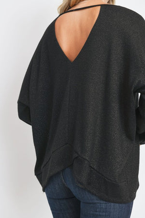 Lurex Keyhole Back Detail Top !