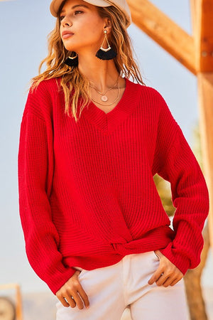 V Neck Long Sleeve Front Knot Detail Sweater!