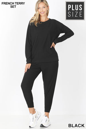 Curvy Style Terry Top & Jogger Pants Set!