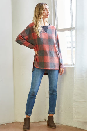 Brushed Plaid Triangle Stitch Top!