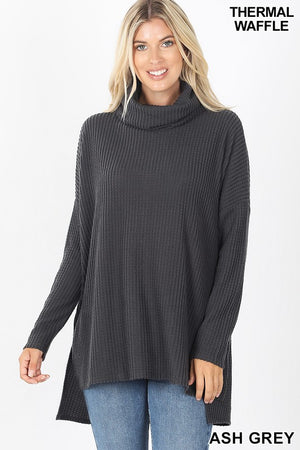 Brushed Thermal Waffle Cowl Neck Hi-Low Sweater!