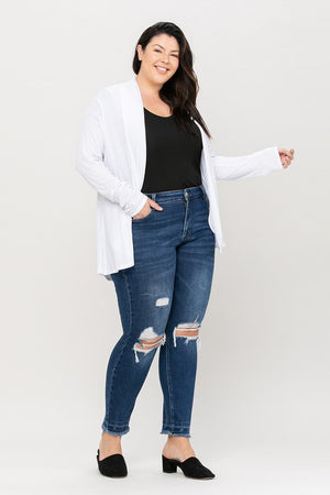 Curvy Mid Rise Distressed Jean!