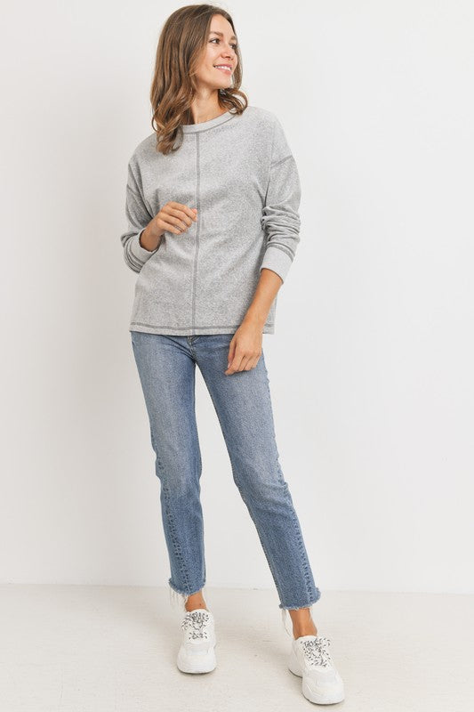 Drop Shoulder Contrast Velour Knit Top!