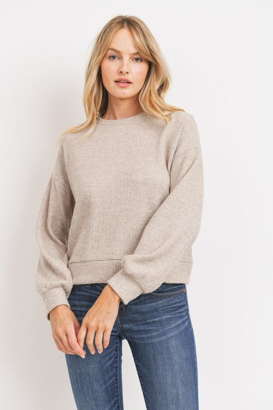 Brushed Mini Thermal Balloon Sleeves Knit Top!