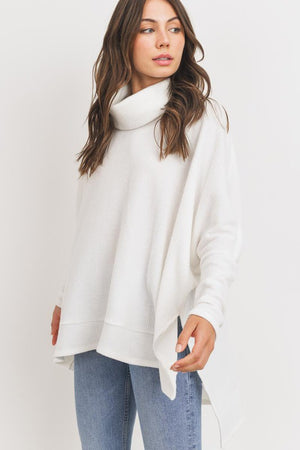 Turtle Neck Side Slits Thermal Knit Top!
