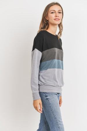 Color Block Long Sleeves French Terry Knit Top !