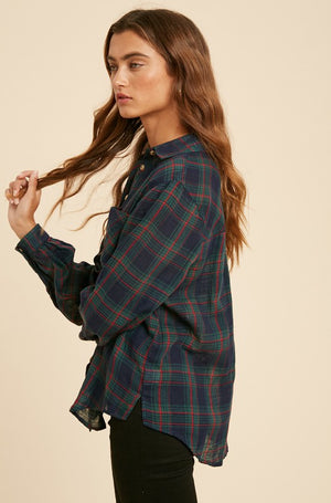 Double Gauze Plaid Button Down!