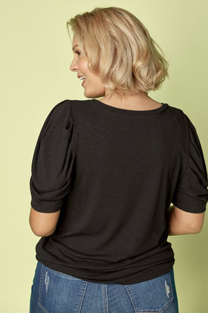 Puff Sleeve Slim Fit Top In Curvy Style!