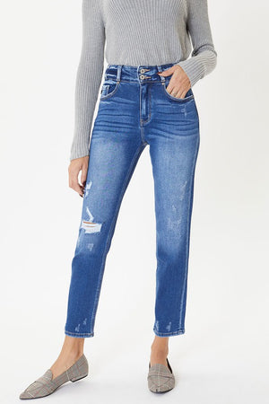 High Rise Double Button Straight Jeans !