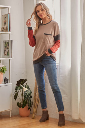 Long Sleeve Color Block Top!
