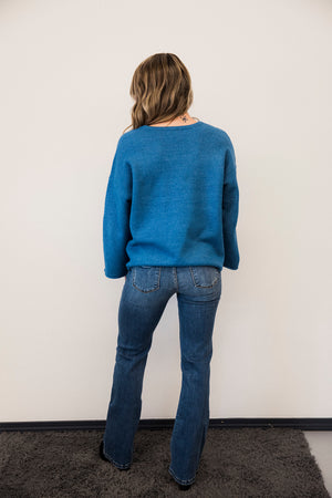 Soft Blue Bell Sleeve Sweater