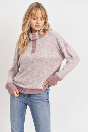 Cowl Neck Button Down Cozy Brushed Knit Top!