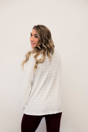 White Button UP Knit Cardigan Top